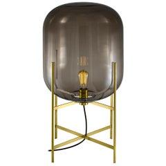 Oda Floor Lamp, European, Minimalist, Smoky Grey, Brass Base, German, Lamp