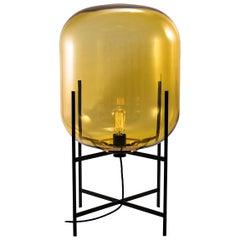 Oda Floor/Table Lamp, European, Minimalist, Amber, Black Base, German, Lamp