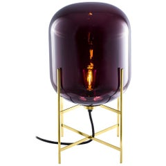 Oda Floor/Table Lamp, European, Minimalist, Aubergine, Brass Base, German, Lamp
