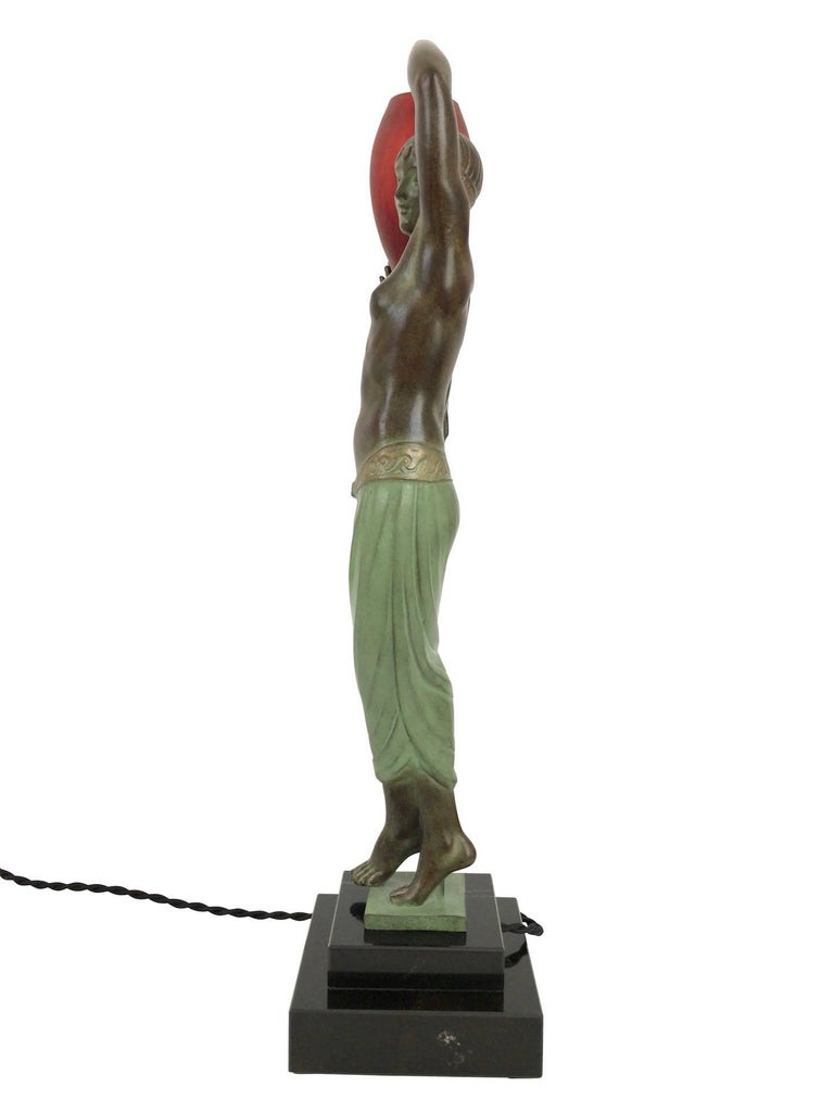 Odalisque by Fayral Original Max Le Verrier Lighted Sculpture Lamp in Spelter For Sale 3