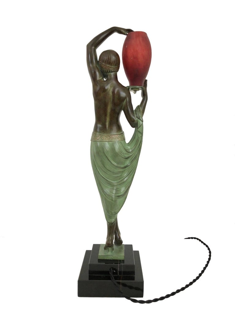 Odalisque by Fayral Original Max Le Verrier Lighted Sculpture Lamp in Spelter For Sale 4