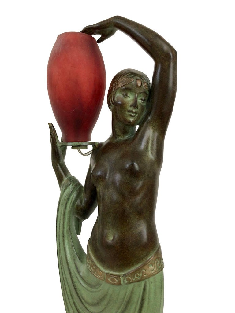 Art Deco Odalisque by Fayral Original Max Le Verrier Lighted Sculpture Lamp in Spelter For Sale