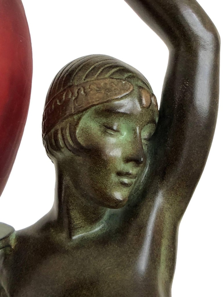 French Odalisque by Fayral Original Max Le Verrier Lighted Sculpture Lamp in Spelter For Sale