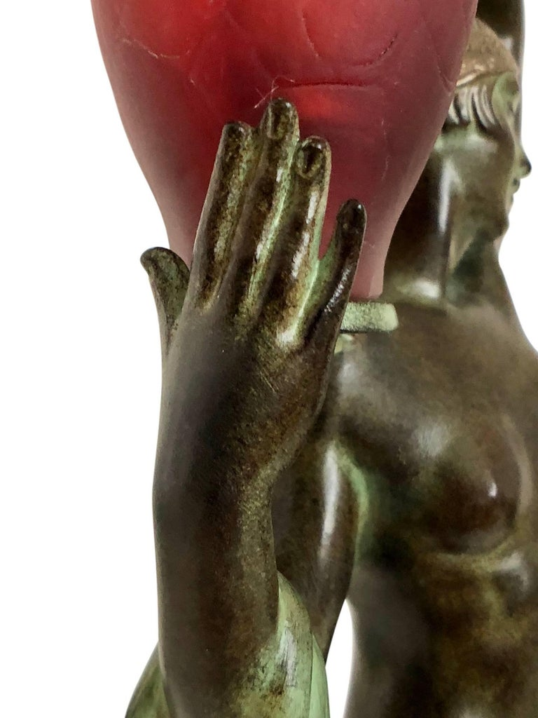 Contemporary Odalisque by Fayral Original Max Le Verrier Lighted Sculpture Lamp in Spelter For Sale