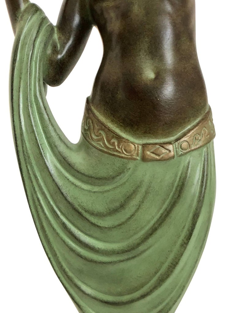 Glass Odalisque by Fayral Original Max Le Verrier Lighted Sculpture Lamp in Spelter For Sale