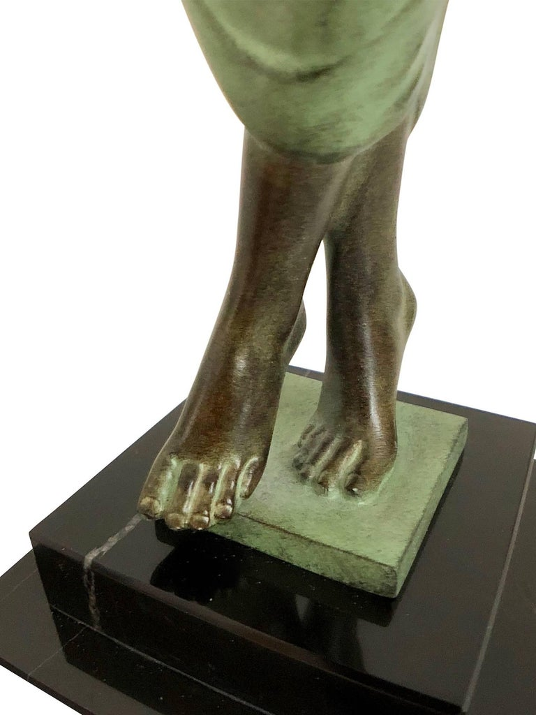 Odalisque by Fayral Original Max Le Verrier Lighted Sculpture Lamp in Spelter For Sale 1