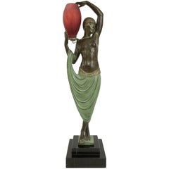 Odalisque by Fayral Original Max Le Verrier Lighted Sculpture Lamp in Spelter