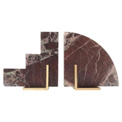 Odd Couple Bookends in Rosso Levanto Marble and Brass