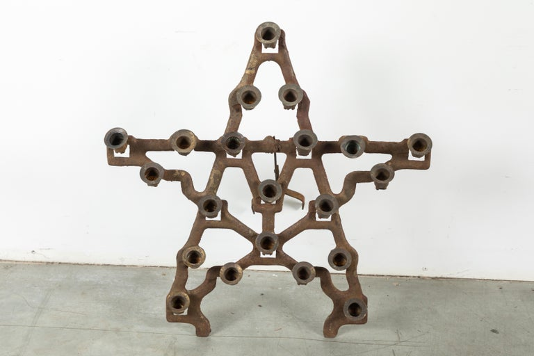 Folk Art Odd Fellows or Free Masons Ceremonial Lodge Candle Holders Star Heart Anchor For Sale