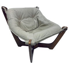 """Odd Knutsen """"Luna"""" Tan Leather Sling Lounge Chair for Hjellegjerde"""