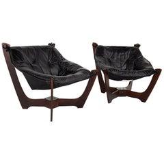 Odd Knutsen Mid Century Luna Leather Lounge Chairs, Pair
