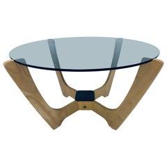 Odd Knutsen Midcentury Danish Modern Beech Wood and Glass Top Coffee Table