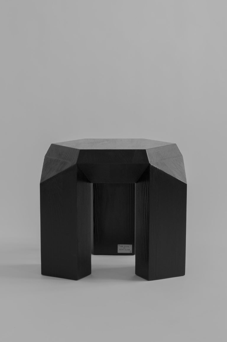Pine Ode Three-Legged Stool by Sizar Alexis For Sale