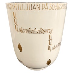 """""""Ode to Music,"""" Exceptional Art Deco Vase with Bars of Music by Kåge, 1938"""