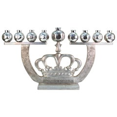 Oded Halahmy 'Crown Lights' Modern Aluminum Cast Menorah