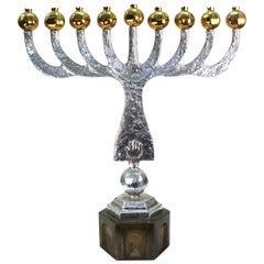 Oded Halahmy 'Round Light' Modern Bronze and Aluminium Cast Menorah