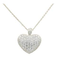 Odelia 4.21 Carat Diamond Heart Pendant Necklace in 18 Karat White Gold