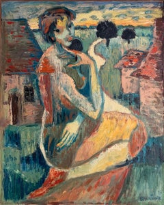 1950's French Expressionist Fauvist Portrait Nude Woman Landscape Signed Oil