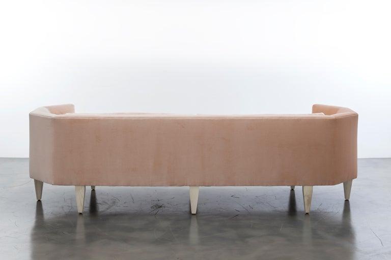 Modern Odette Sofa Blush European Velvet For Sale