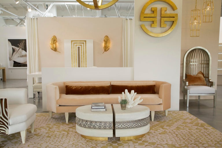 American Odette Sofa Blush European Velvet For Sale