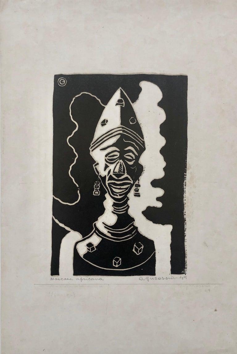 1945 Brazilian Master, Art Deco Clown Serigraph Woodcut  - Print by Odetto Guersoni