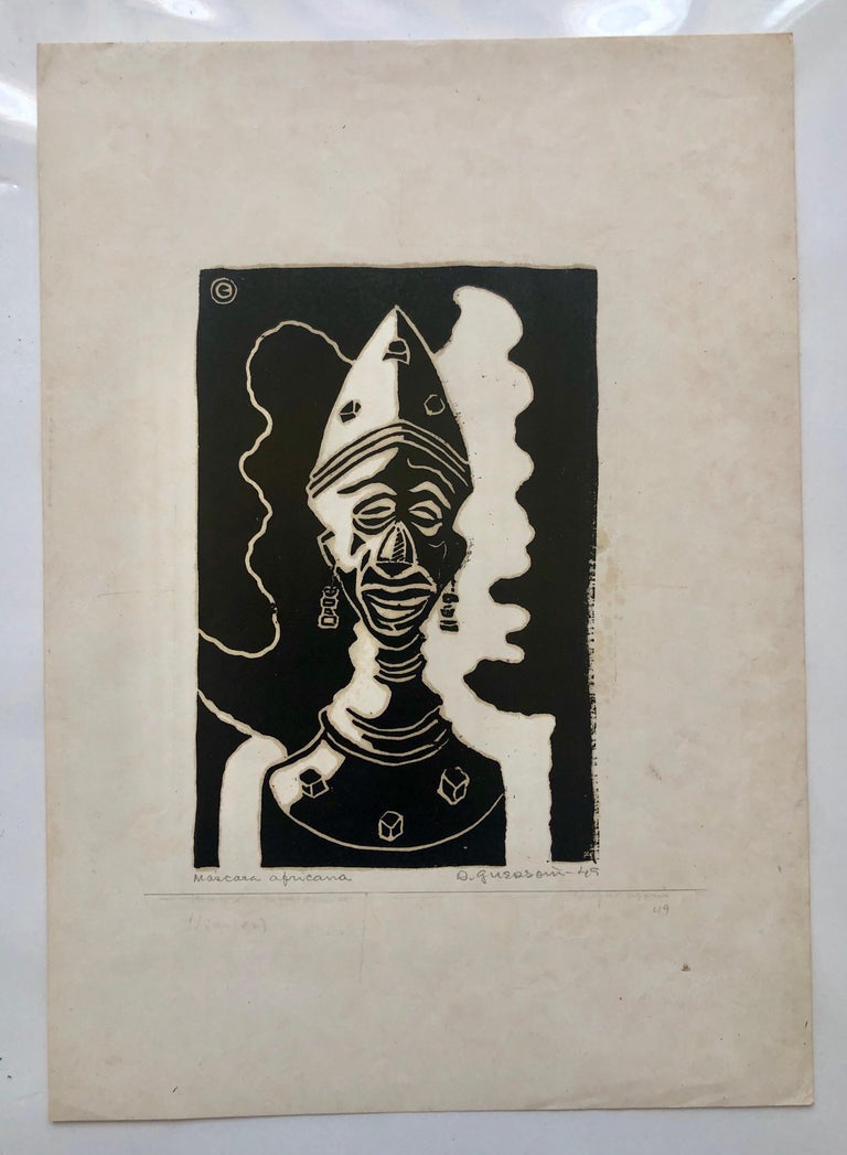 1945 Brazilian Master, Art Deco Clown Serigraph Woodcut  For Sale 1