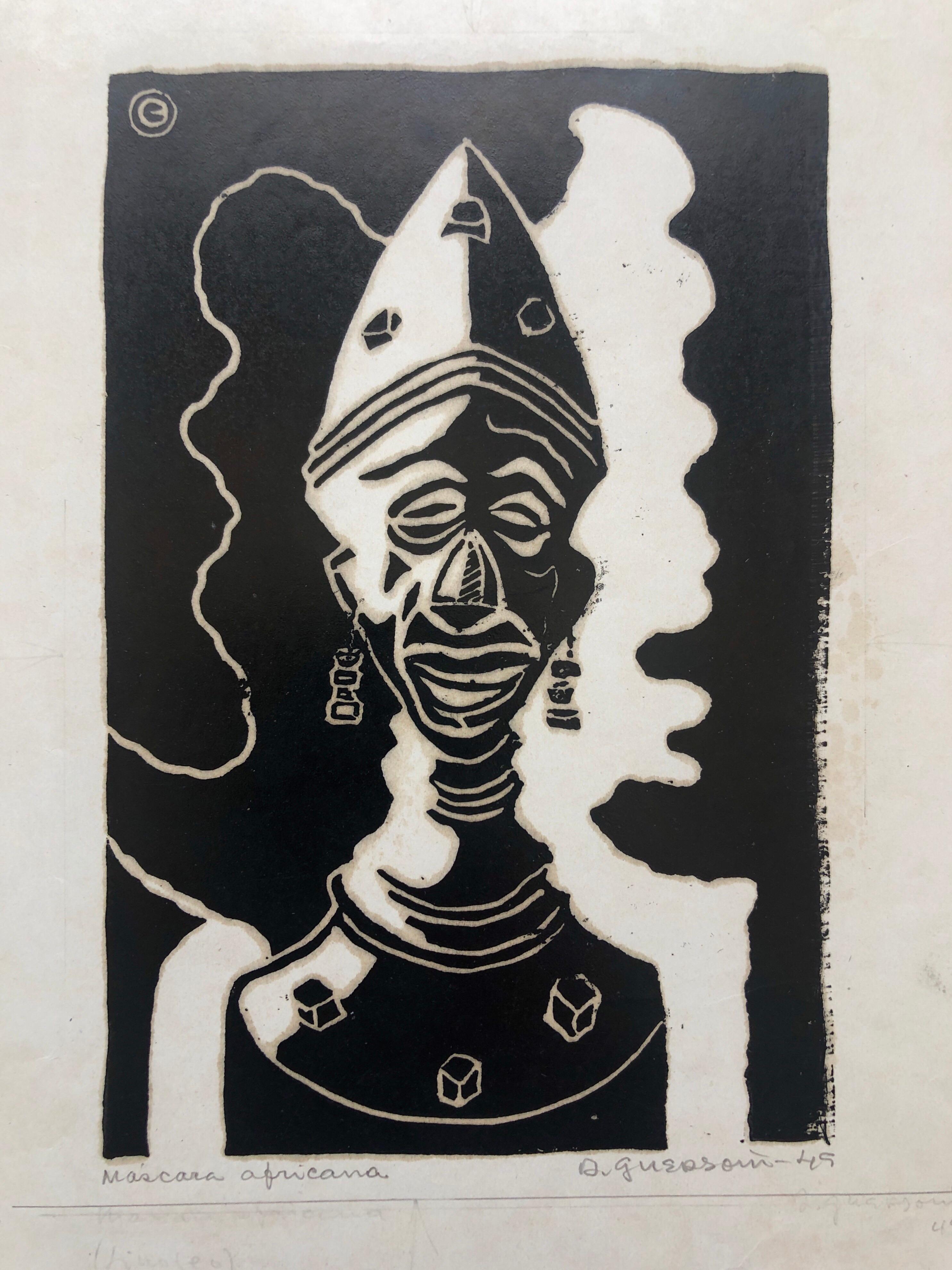 1945 Brazilian Master, Art Deco Clown Serigraph Woodcut