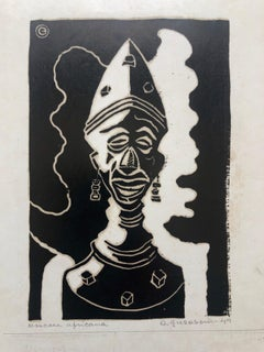 1945 Brazilian Master, Art Deco Clown Serigraph Woodcut
