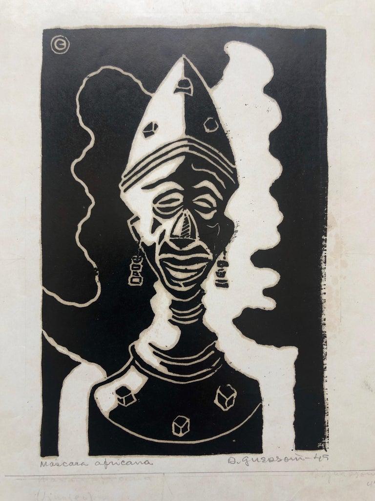 Odetto Guersoni Nude Print - 1945 Brazilian Master, Art Deco Clown Serigraph Woodcut