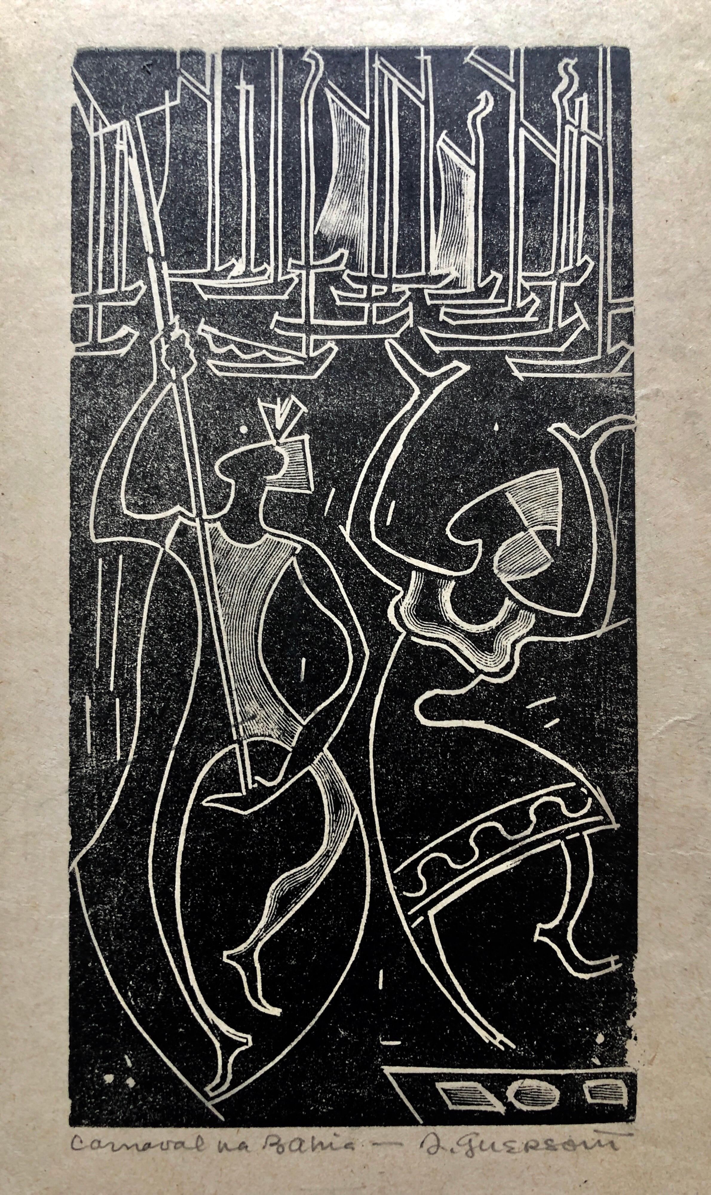 1945 Brazilian Master, Art Deco Nudes Serigraph Woodcut Carnaval Bahia