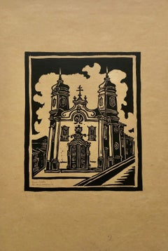 1945 Brazilian Master, Art Deco Serigraph Woodcut Colonial Architecture Mission