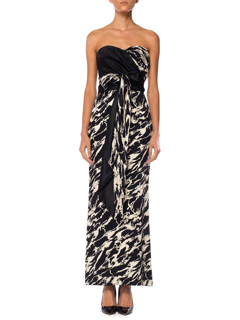 1980S ODICINI COUTURE FOR FRED HAYMAN BEVERLY HILLS Black & White Silk Charmeuse Strapless Gown