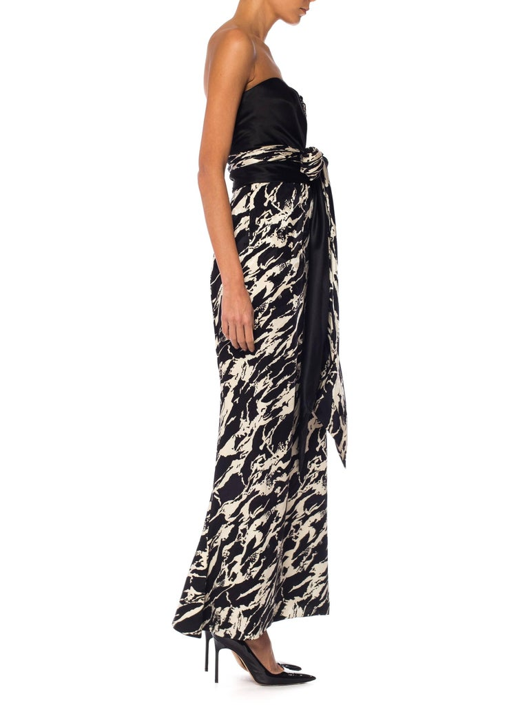 1980S ODICINI COUTURE FOR FRED HAYMAN BEVERLY HILLS Black & White Silk Charmeus For Sale 3