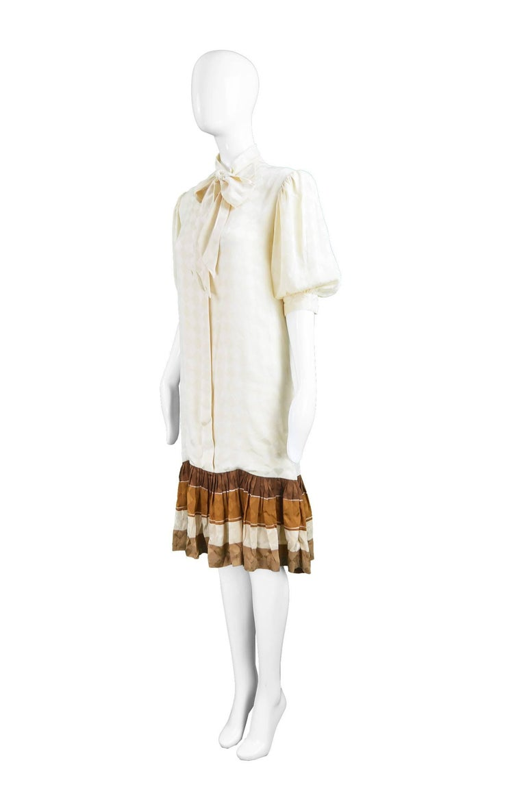 Odicini Vintage Ivory Silk 1980s Pussybow Dress For Sale 1