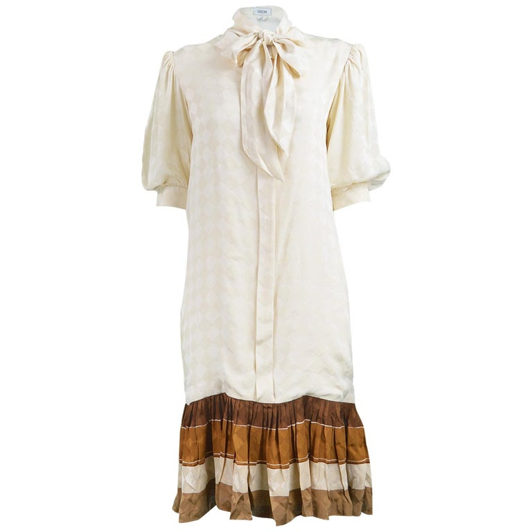 Odicini Vintage Ivory Silk 1980s Pussybow Dress For Sale