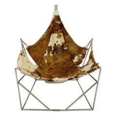 Odile Mir Lounge Chair with Cowskin Seat, France, 1972
