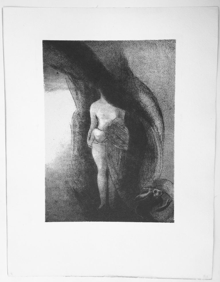 ODELON REDON (French 1840 - 1916)  JE SUIS  TOUJOURS LA GRAND ISIS - I AM STILL THE GREAT ISIS NOBODY HAS PICKED UP MY VAIL, MY OFFSPRING IS THE SUN, 1896 (M 149) Lithograph on 'chine applique'. Unsigned as issued, Image 11 1/8 x 8 1/16 inches.