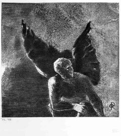 "Illustration from the series ""Les Fleurs du mal"" - Etching After O. Redon"
