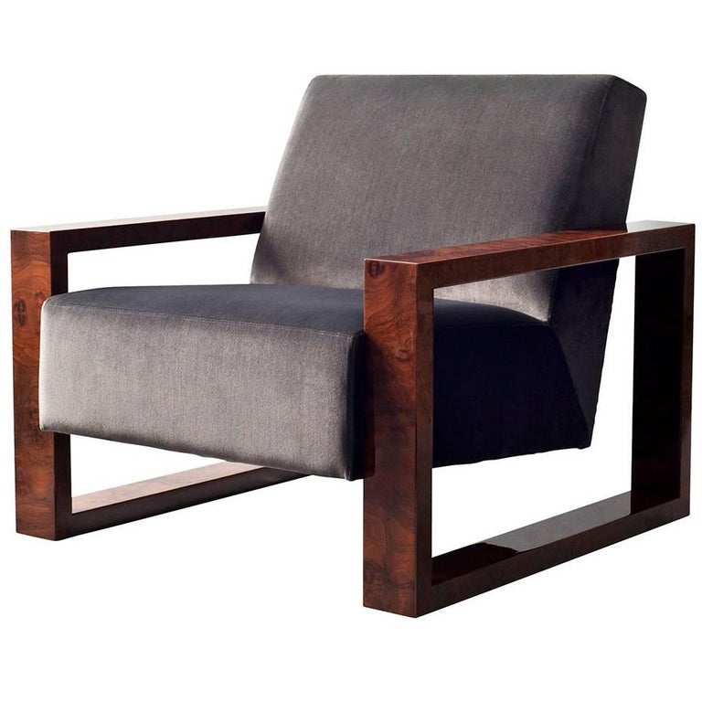 Odin Side Chair by DeMuro Das with Walnut Burl Arms For Sale