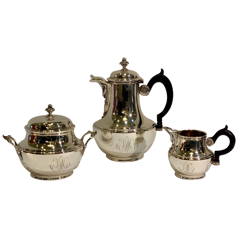 Jean-Baptiste-Claude Odiot Sterling Silver 3 Piece Breakfast Coffee or Tea Set