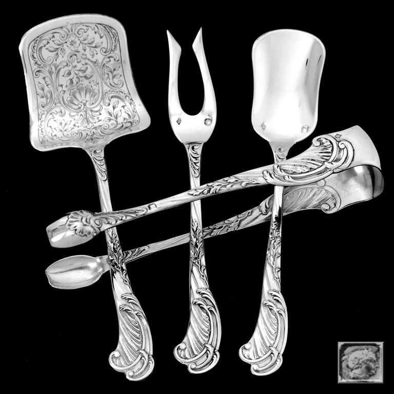 Odiot Rare French Sterling Silver Dessert Hors D'oeuvre Set 4 Piece In Good Condition For Sale In TRIAIZE, PAYS DE LOIRE
