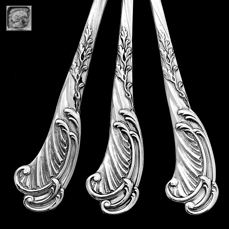 Odiot Rare French Sterling Silver Dessert Hors D'oeuvre Set 4 Piece For Sale 2