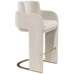 Bar Chair with Soft Velvet and Brass footrest Odisseia