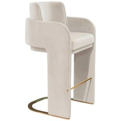 Counter Chair with Soft Velvet and Brass footrest Odisseia