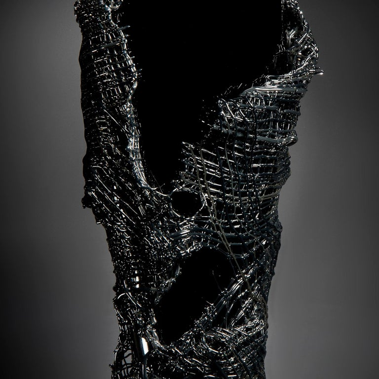 Contemporary Odysseus, a unique black hand-blown glass sculpture by Cathryn Shilling For Sale