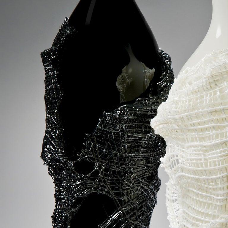 Art Glass Odysseus, a unique black hand-blown glass sculpture by Cathryn Shilling For Sale