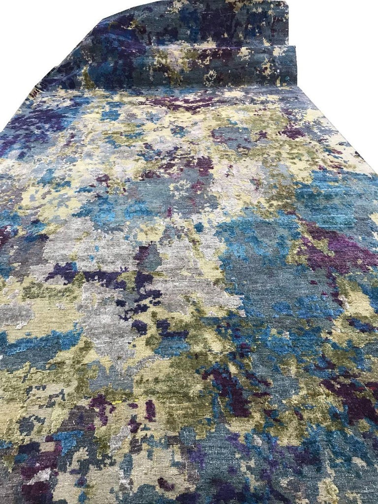 Organic Contempory Green Turquoise Purple Organic Hand-Knotted Wool and Silk Rug For Sale 1