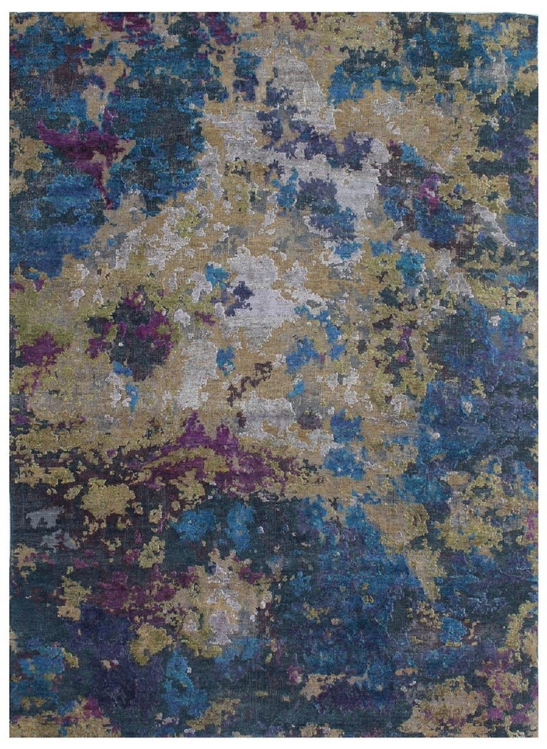 Wool and Silk Abstract Organic Blue Green and Purple Hand-knotted Rug in Stock For Sale