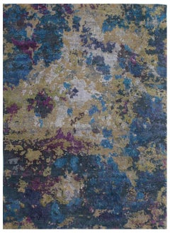 Contemporary, Hand-knotted, Wool and Silk, Abstract Rug, Organic 9'x12'