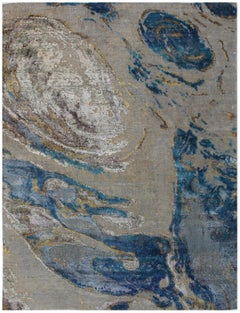 Coastal Design, Hand-Knotted, Wool and Silk, Abstract Rug, Turquoise, Beige